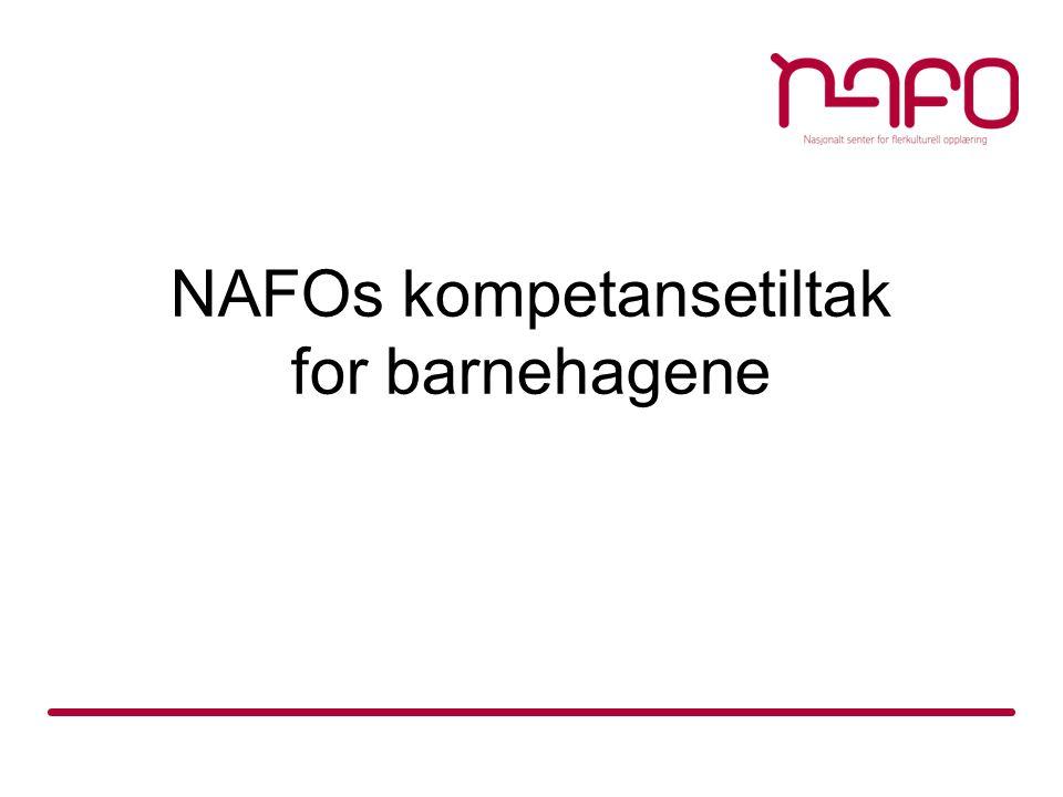Tidligere kompetansetiltak  Fra 2005 til 2010 gjennomførte NAFO kompetansetiltak i språkstimulering og flerkulturell pedagogikk for barnehageansatte i alle fylkene, i nært samarbeid med universiteter og høgskoler og fylkesmennene.