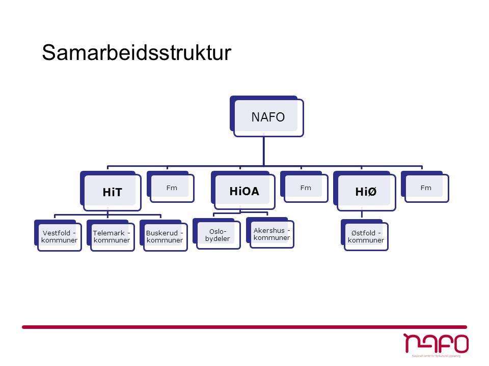 Samarbeidsstruktur NAFO HiT Vestfold - kommuner Telemark - kommuner Buskerud - kommuner Fm HiOA Oslo- bydeler Akershus - kommuner Fm HiØ Østfold - kom