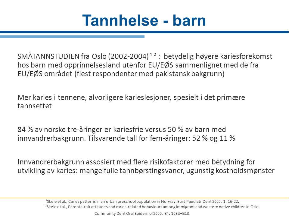 SMÅTANNSTUDIEN fra Oslo (2002-2004) ¹ ² : betydelig høyere kariesforekomst hos barn med opprinnelsesland utenfor EU/EØS sammenlignet med de fra EU/EØS