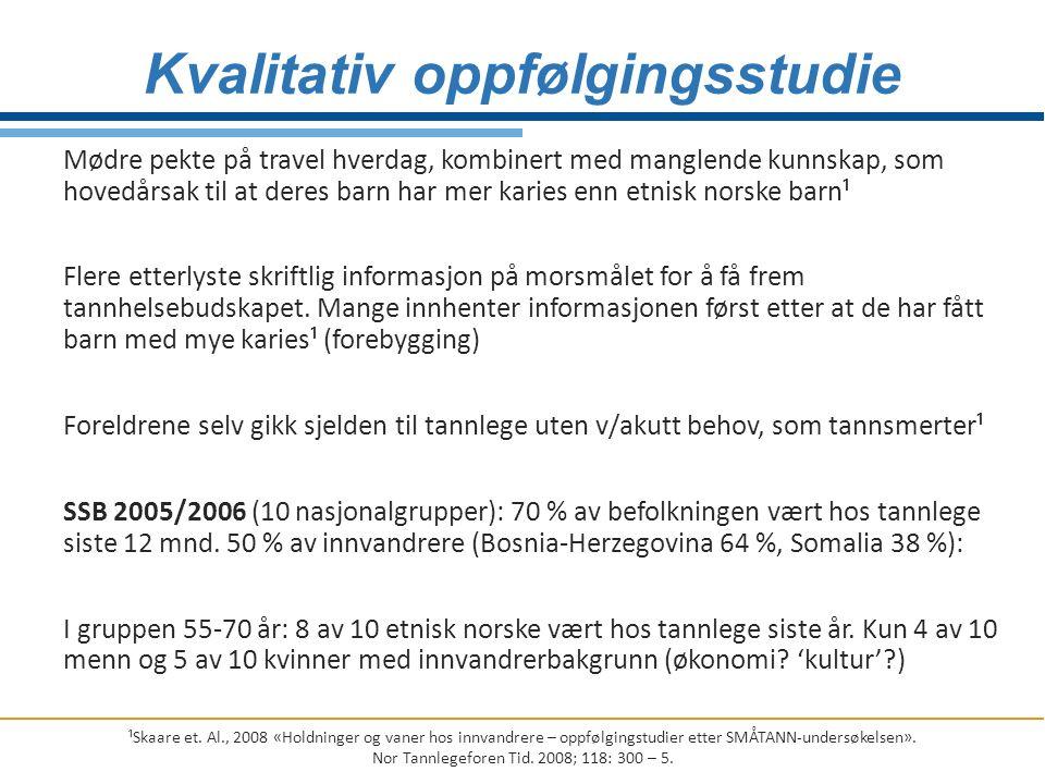 Mødre pekte på travel hverdag, kombinert med manglende kunnskap, som hovedårsak til at deres barn har mer karies enn etnisk norske barn¹ Flere etterly