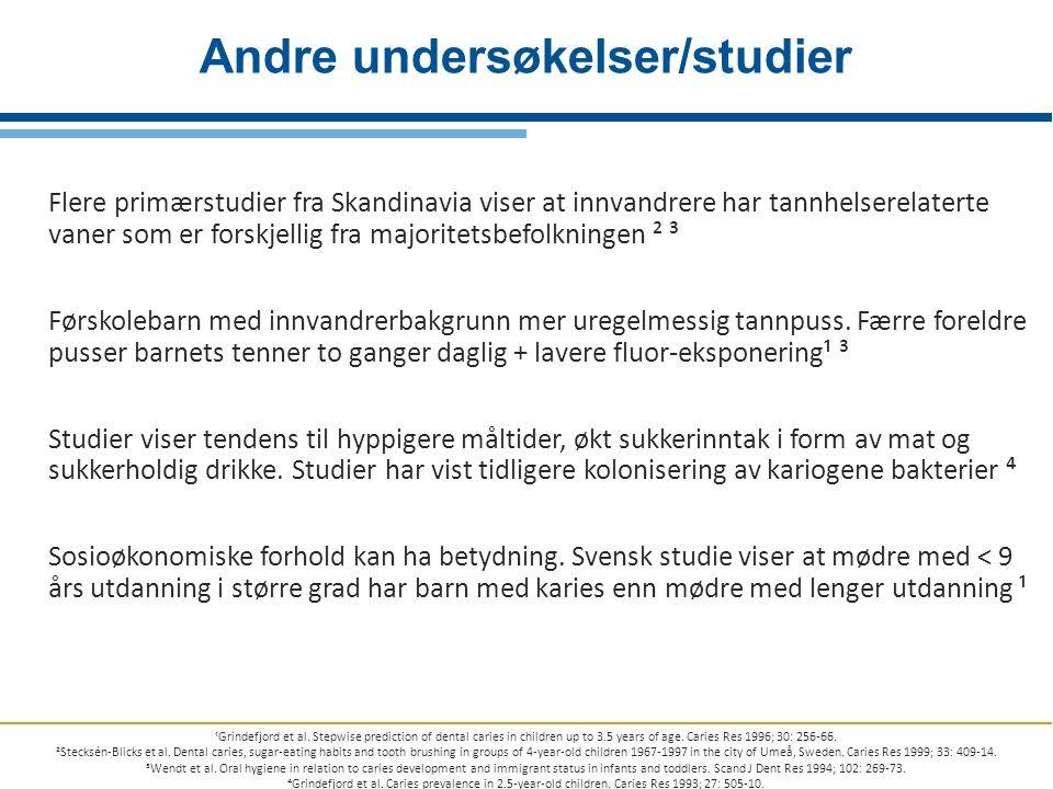 Flere primærstudier fra Skandinavia viser at innvandrere har tannhelserelaterte vaner som er forskjellig fra majoritetsbefolkningen ² ³ Førskolebarn m