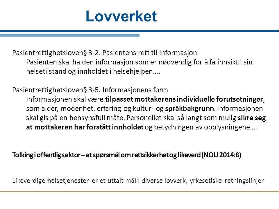 Lovverket Pasientrettighetsloven§ 3-2. Pasientens rett til informasjon Pasienten skal ha den informasjon som er nødvendig for å få innsikt i sin helse