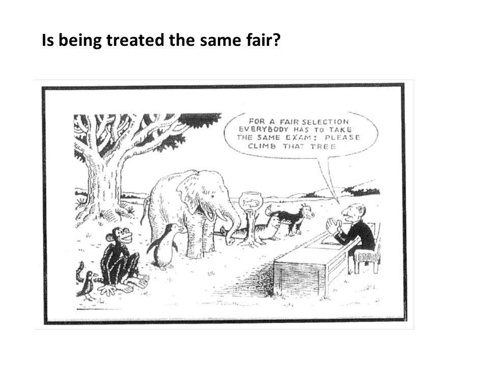 Is being treated the same fair?