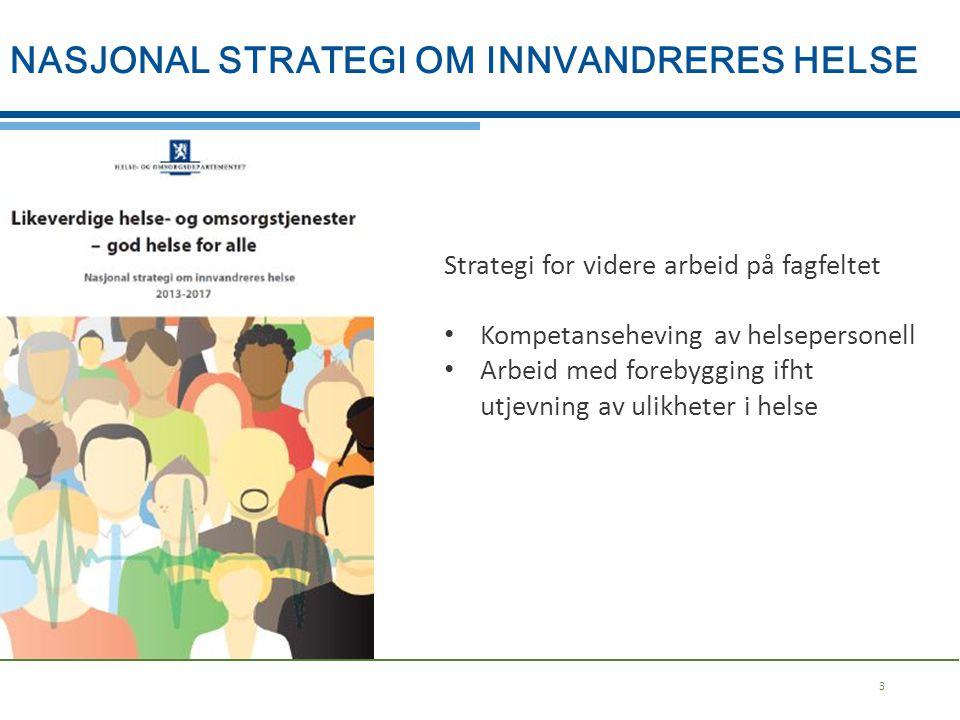 3 Strategi for videre arbeid på fagfeltet Kompetanseheving av helsepersonell Arbeid med forebygging ifht utjevning av ulikheter i helse NASJONAL STRAT