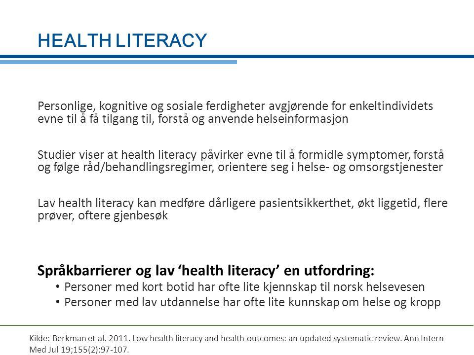 HEALTH LITERACY Personlige, kognitive og sosiale ferdigheter avgjørende for enkeltindividets evne til å få tilgang til, forstå og anvende helseinforma