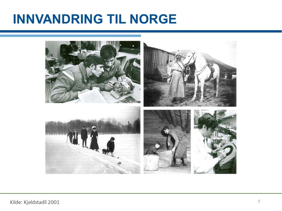 INNVANDRING TIL NORGE 5 Kilde: Kjeldstadli 2001