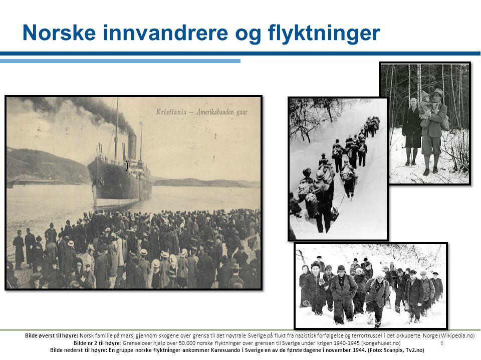 Norske innvandrere og flyktninger 6 ) Bilde øverst til høyre: Norsk familie på marsj gjennom skogene over grensa til det nøytrale Sverige på flukt fra