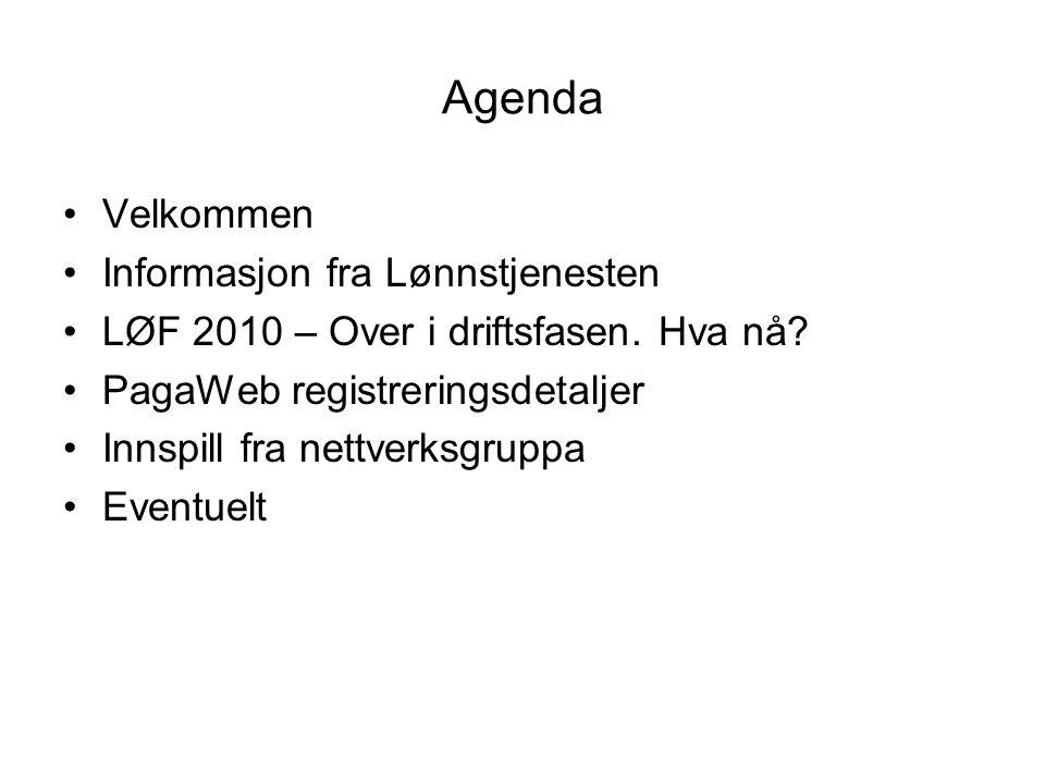 Agenda Velkommen Informasjon fra Lønnstjenesten LØF 2010 – Over i driftsfasen. Hva nå? PagaWeb registreringsdetaljer Innspill fra nettverksgruppa Even