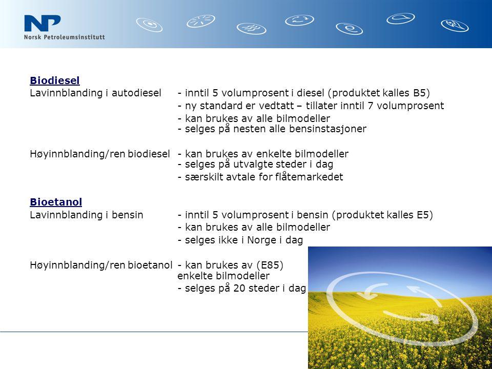 Biodiesel Lavinnblanding i autodiesel- inntil 5 volumprosent i diesel (produktet kalles B5) - ny standard er vedtatt – tillater inntil 7 volumprosent - kan brukes av alle bilmodeller - selges på nesten alle bensinstasjoner Høyinnblanding/ren biodiesel- kan brukes av enkelte bilmodeller - selges på utvalgte steder i dag - særskilt avtale for flåtemarkedet Bioetanol Lavinnblanding i bensin- inntil 5 volumprosent i bensin (produktet kalles E5) - kan brukes av alle bilmodeller - selges ikke i Norge i dag Høyinnblanding/ren bioetanol - kan brukes av (E85) enkelte bilmodeller - selges på 20 steder i dag