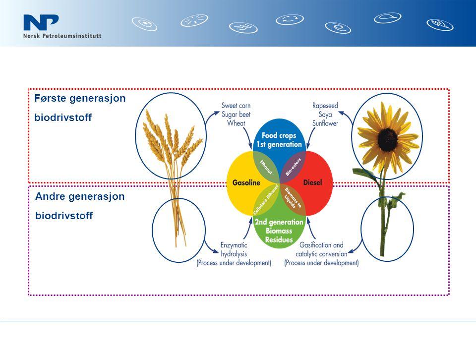 Andre generasjon biodrivstoff Første generasjon biodrivstoff