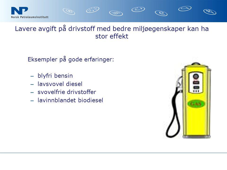 Lavere avgift på drivstoff med bedre miljøegenskaper kan ha stor effekt Eksempler på gode erfaringer: – blyfri bensin – lavsvovel diesel – svovelfrie drivstoffer – lavinnblandet biodiesel