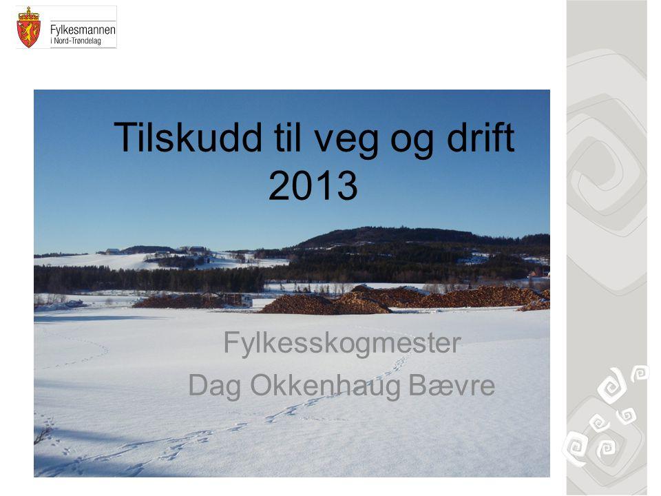 Tilskudd til veg og drift 2013 Fylkesskogmester Dag Okkenhaug Bævre