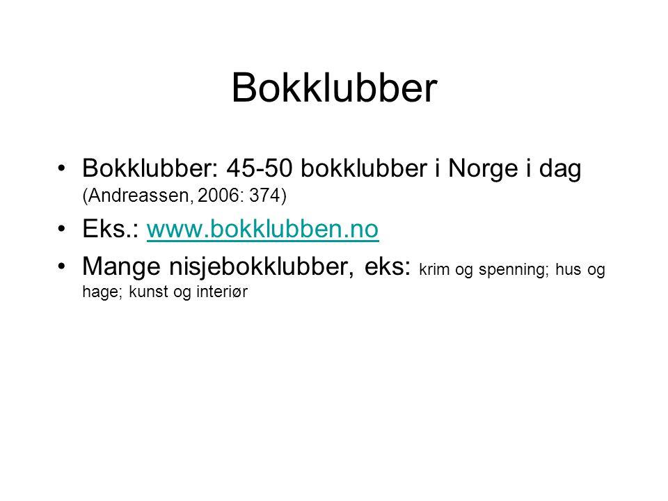 Bokklubber Bokklubber: 45-50 bokklubber i Norge i dag (Andreassen, 2006: 374) Eks.: www.bokklubben.nowww.bokklubben.no Mange nisjebokklubber, eks: krim og spenning; hus og hage; kunst og interiør
