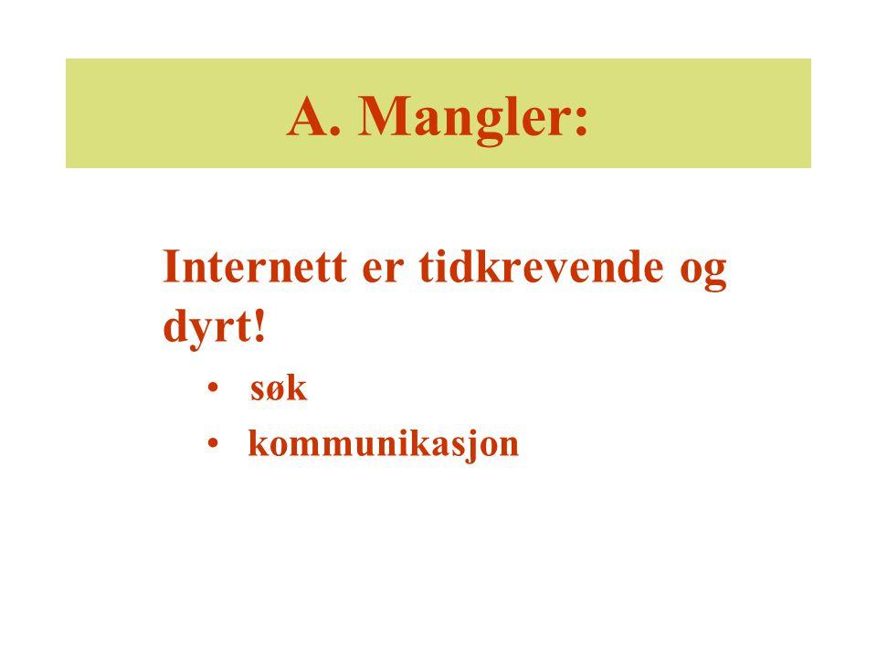 A. Mangler: Internett er tidkrevende og dyrt! søk kommunikasjon