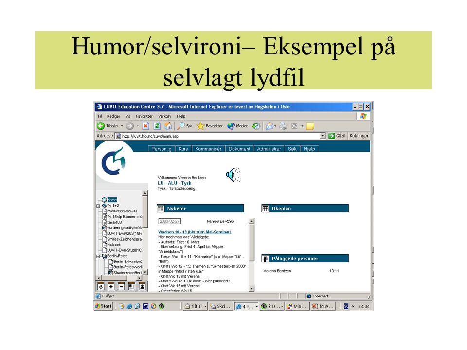 Humor/selvironi– Eksempel på selvlagt lydfil