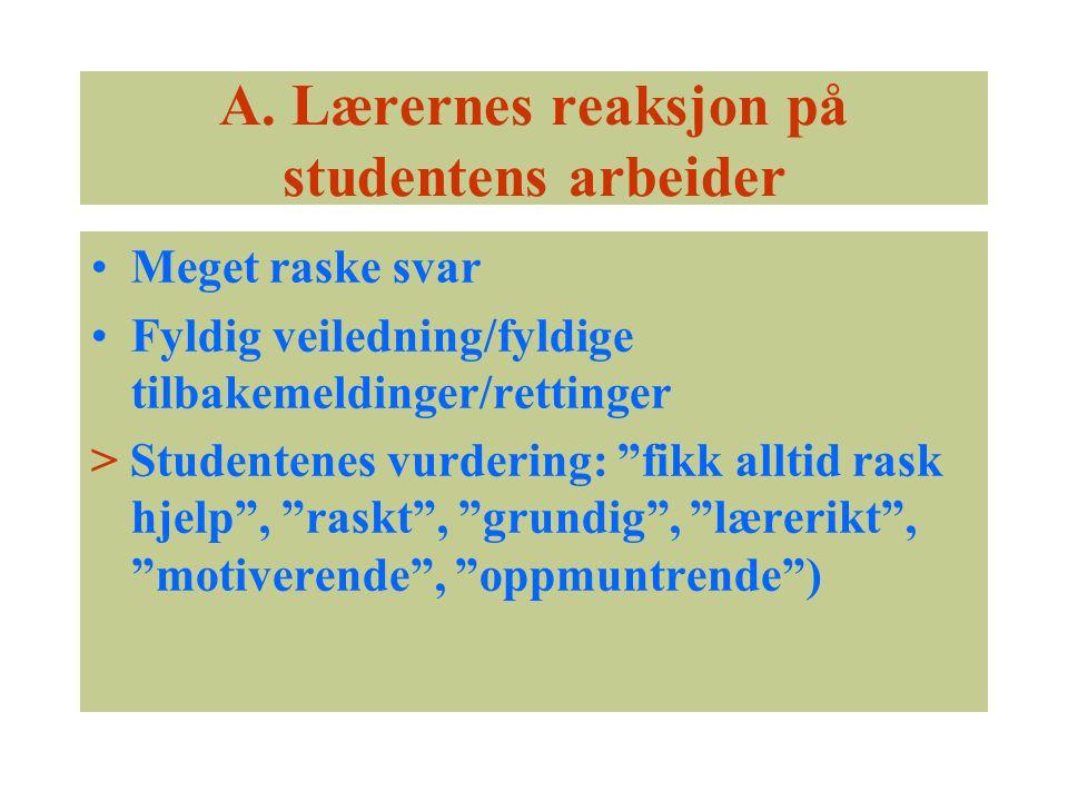 """A. Lærernes reaksjon på studentens arbeider Meget raske svar Fyldig veiledning/fyldige tilbakemeldinger/rettinger > Studentenes vurdering: """"fikk allti"""