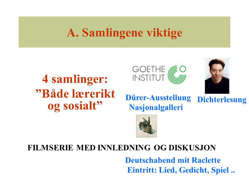 """A. Samlingene viktige 4 samlinger: """"Både lærerikt og sosialt"""" Nasjonalgalleri Dürer-Ausstellung Dichterlesung Deutschabend mit Raclette Eintritt: Lied"""
