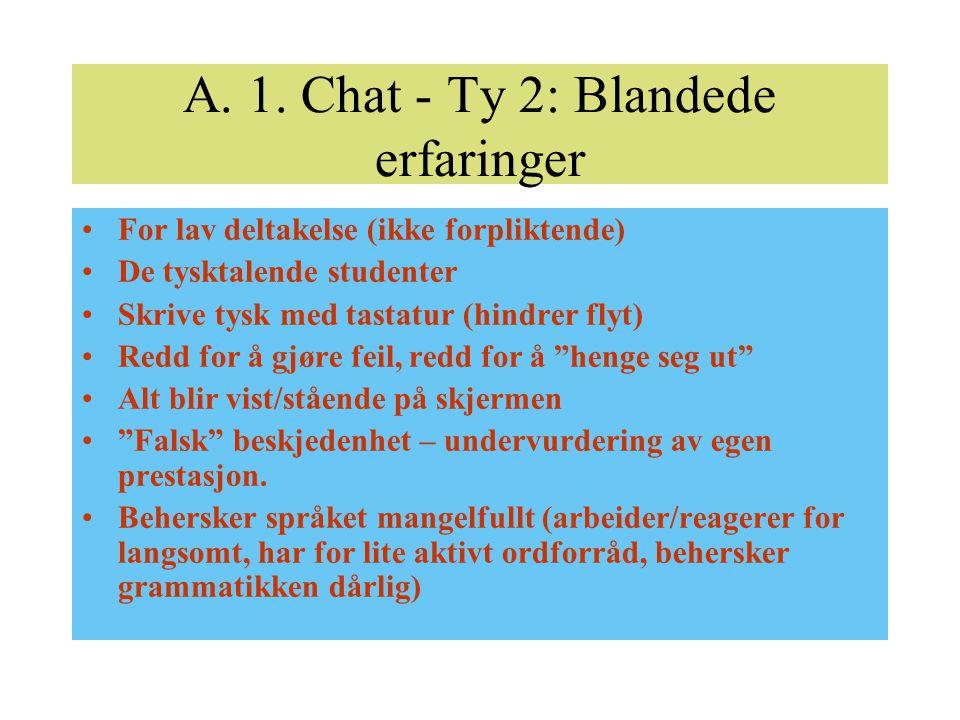 A. 1. Chat - Ty 2: Blandede erfaringer For lav deltakelse (ikke forpliktende) De tysktalende studenter Skrive tysk med tastatur (hindrer flyt) Redd fo