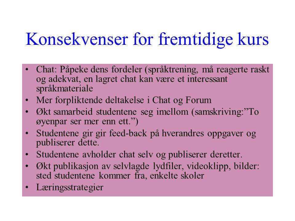 Konsekvenser for fremtidige kurs Chat: Påpeke dens fordeler (språktrening, må reagerte raskt og adekvat, en lagret chat kan være et interessant språkm