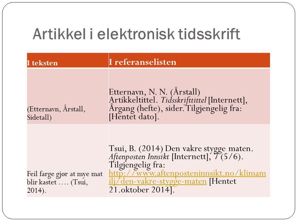 Artikkel i elektronisk tidsskrift I teksten I referanselisten (Etternavn, Årstall, Sidetall) Etternavn, N. N. (Årstall) Artikkeltittel. Tidsskrifttitt