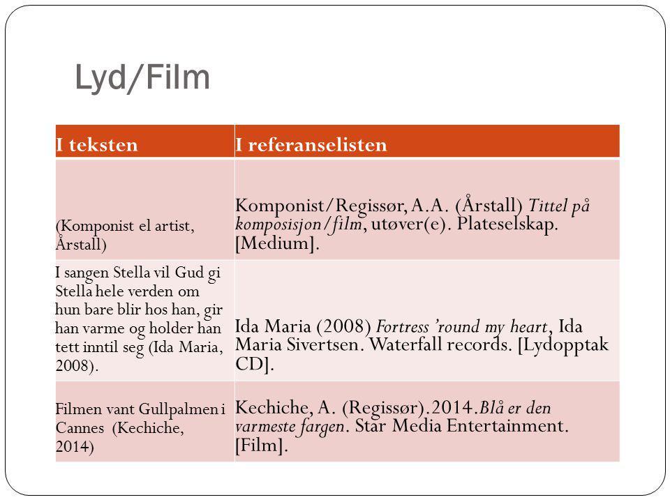 Lyd/Film I tekstenI referanselisten (Komponist el artist, Årstall) Komponist/Regissør, A.A. (Årstall) Tittel på komposisjon/film, utøver(e). Platesels