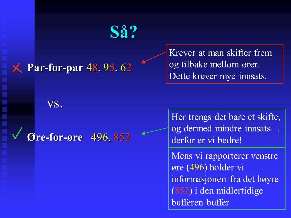 Evidens for modellen The split-span procedure Broadbent (1954). The split-span procedure Broadbent (1954).  6 siffer presentert i 3 par  1 medlem av