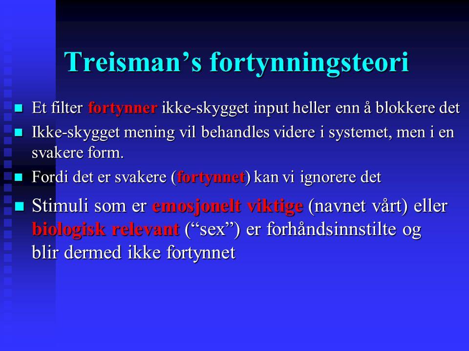 Andre problemer for tidlig seleksjon Treisman (1960) Treisman (1960) Jeg så jenta møbler over… Meg fuglen grønn hoppe avtale …  Meningen til en kanal