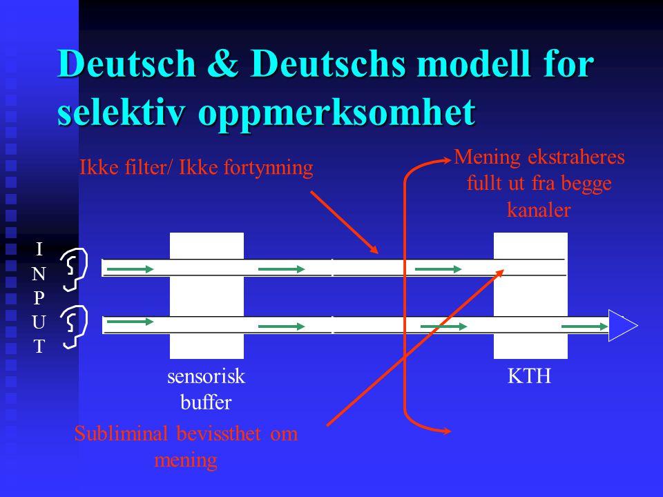 Deutsch & Deutschs modell for selektiv oppmerksomhet Alle stimuli analyseres for mening, men bare NOEN velges til respons Alle stimuli analyseres for