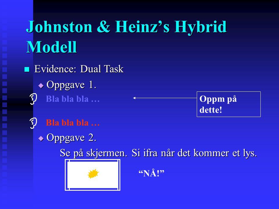 Johnston & Heinz's Hybrid Modell Vi filtrerer kanaler enten... Vi filtrerer kanaler enten...  TIDLIG (basert på fysiske trekk) eller  SENT (basert p