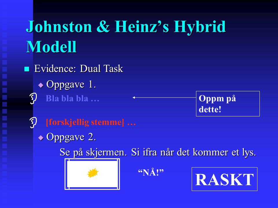 Evidence: Dual Task Evidence: Dual Task  Oppgave 1.  Oppgave 2. Oppm på dette! Bla bla bla … Se på skjermen. Si ifra når det kommer et lys. Se på sk