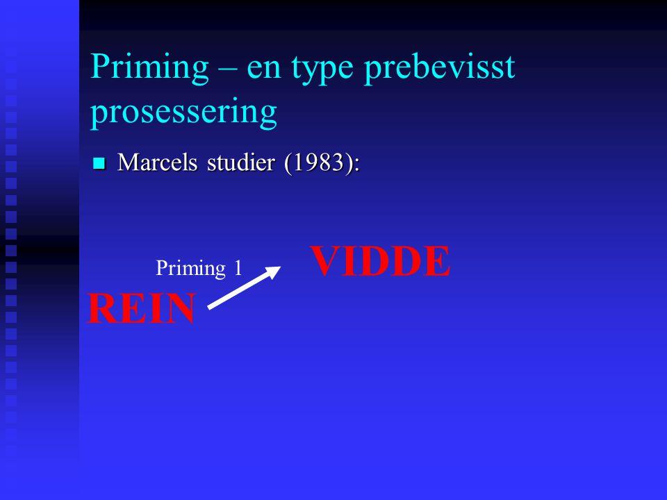 Priming – en type prebevisst prosessering Marcels studier (1983): Marcels studier (1983): Betingelse 1: Deltagerne var bevisst at de hadde sett et pri
