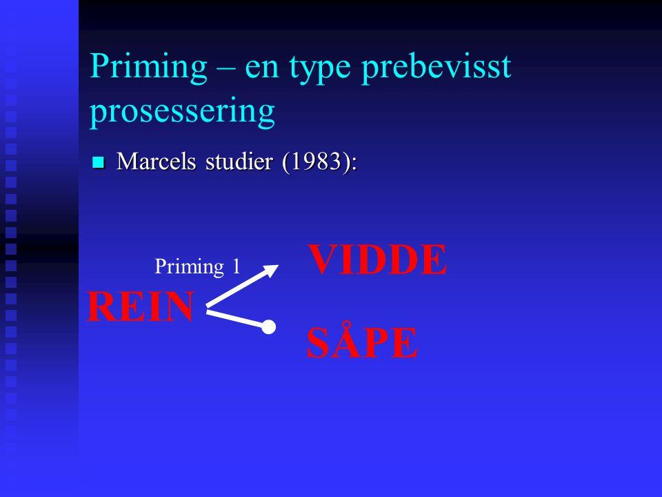 Priming – en type prebevisst prosessering Marcels studier (1983): Marcels studier (1983): REIN VIDDE Priming 1