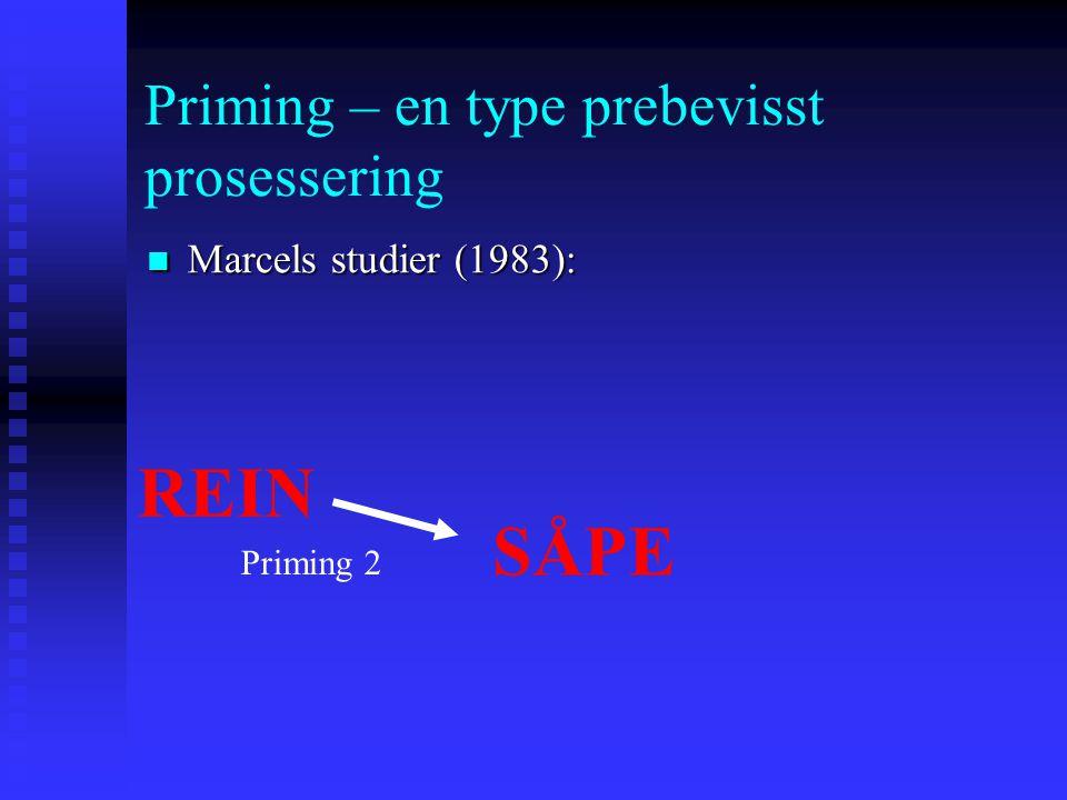 Priming – en type prebevisst prosessering Marcels studier (1983): Marcels studier (1983): REIN VIDDE SÅPE Priming 1