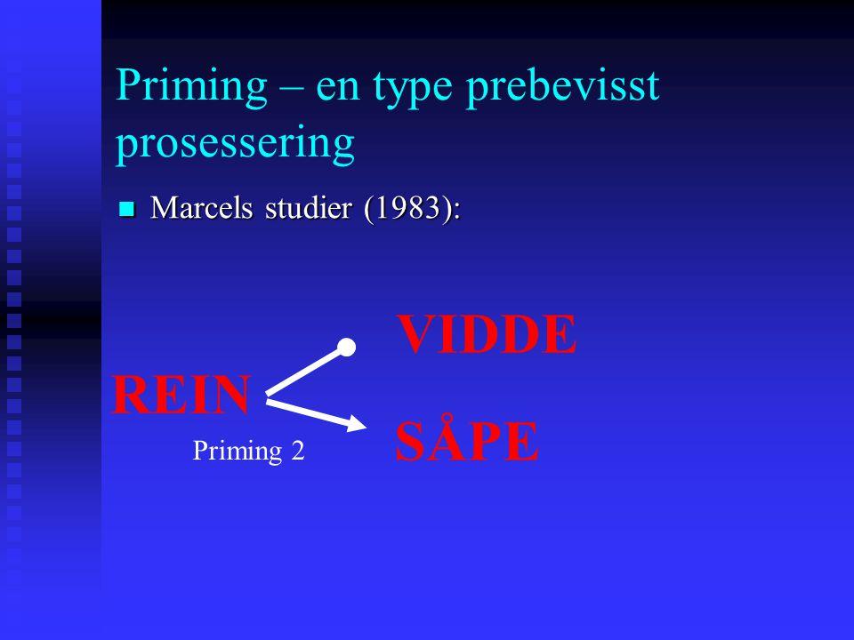 Priming – en type prebevisst prosessering Marcels studier (1983): Marcels studier (1983): REIN SÅPE Priming 2