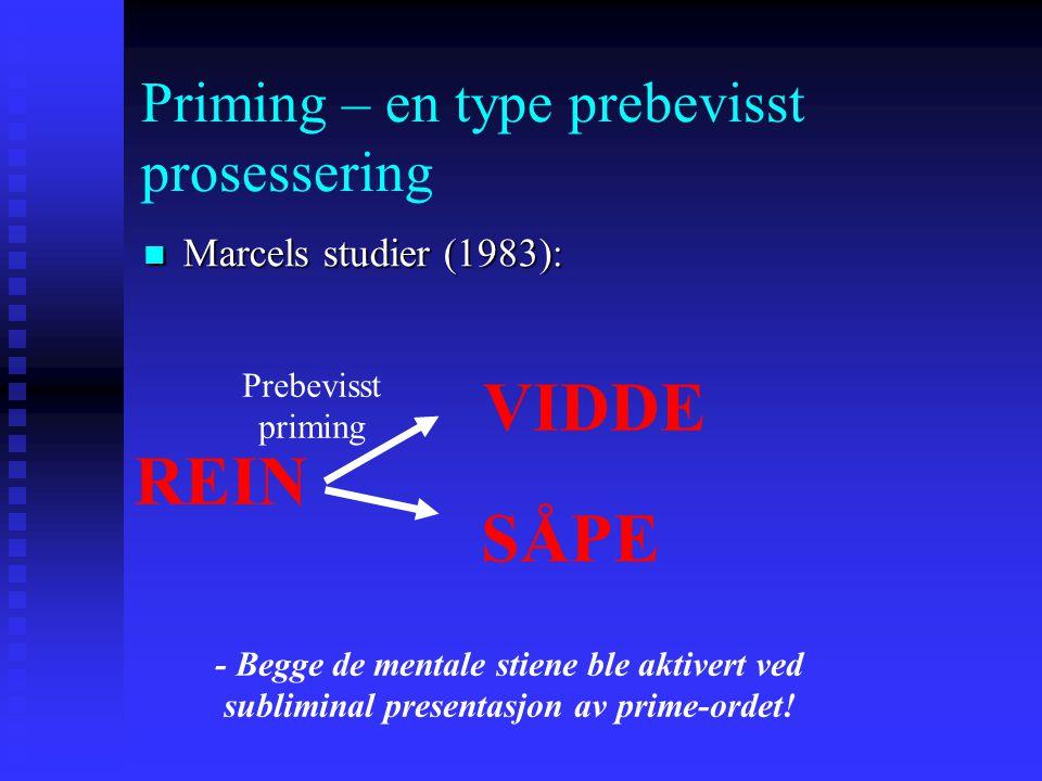 Priming – en type prebevisst prosessering Marcels studier (1983): Marcels studier (1983): Betingelse 2: Priming-ordet ble presentert så hurtig deltage