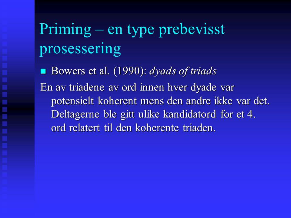 Priming – en type prebevisst prosessering Bowers et al. (1990): dyads of triads Bowers et al. (1990): dyads of triads VEV MAKERBRØD FISK EGGMINISTER T