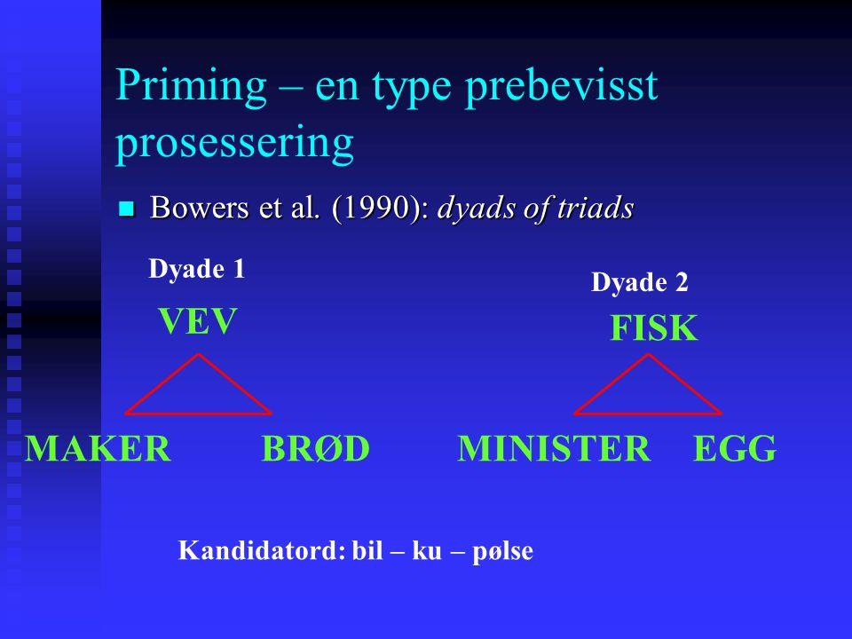 Priming – en type prebevisst prosessering Bowers et al. (1990): dyads of triads Bowers et al. (1990): dyads of triads En av triadene av ord innen hver