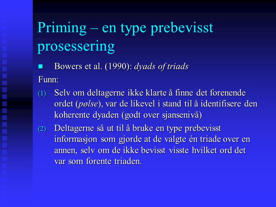 Priming – en type prebevisst prosessering Bowers et al. (1990): dyads of triads Bowers et al. (1990): dyads of triads VEV MAKERBRØD FISK EGGMINISTER D