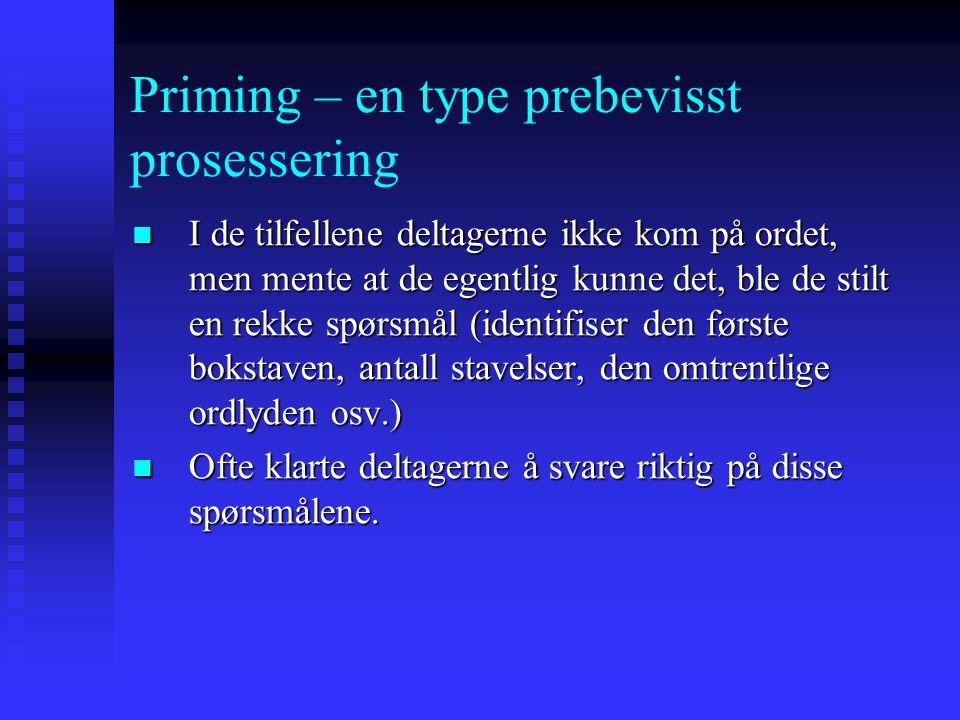 """Priming – en type prebevisst prosessering R. Brown and McNeill (1966): Deltagerne ble gitt en """"ordbokdefinisjon"""" av et ord, og skulle komme på ordet."""