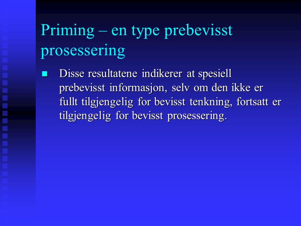 Priming – en type prebevisst prosessering I de tilfellene deltagerne ikke kom på ordet, men mente at de egentlig kunne det, ble de stilt en rekke spør