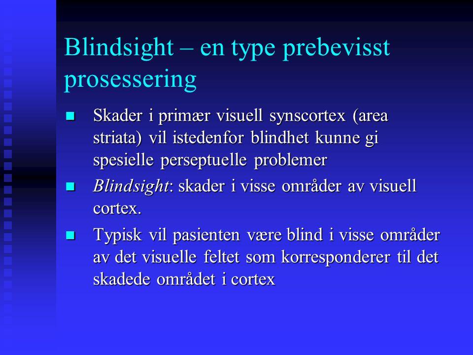 Blindsight – en type prebevisst prosessering Retinotopisk organisering av PVC