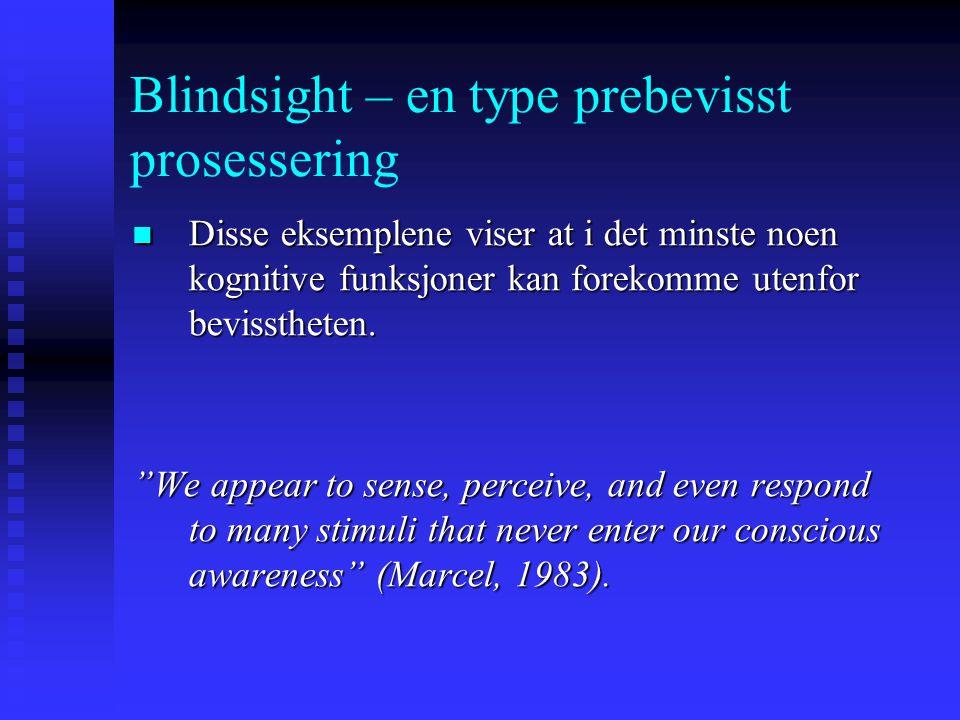 Blindsight – en type prebevisst prosessering Mest sannsynlig et fenomen som ikke bare deier seg om hjerneskadepasienter Mest sannsynlig et fenomen som