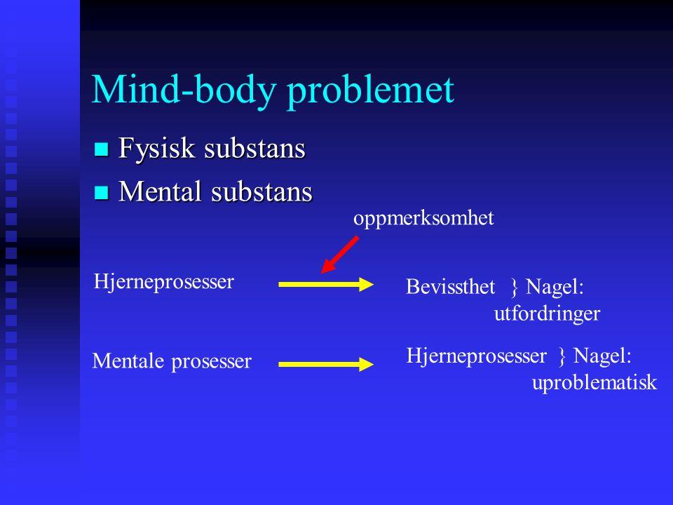 Mind-body problemet Fysisk substans Fysisk substans Mental substans Mental substans