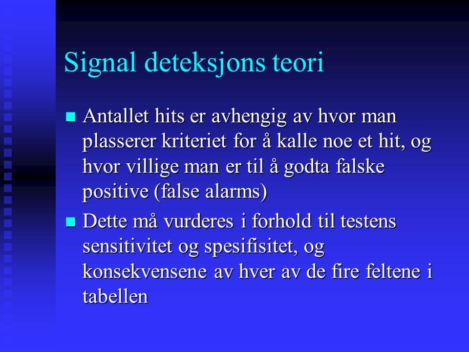 Signal deteksjons teori I henhold til SDT vil et forsøk på å detektere et signal gi et av 4 mulige resultater (SD matrise): Signal Detekter signal Ikk