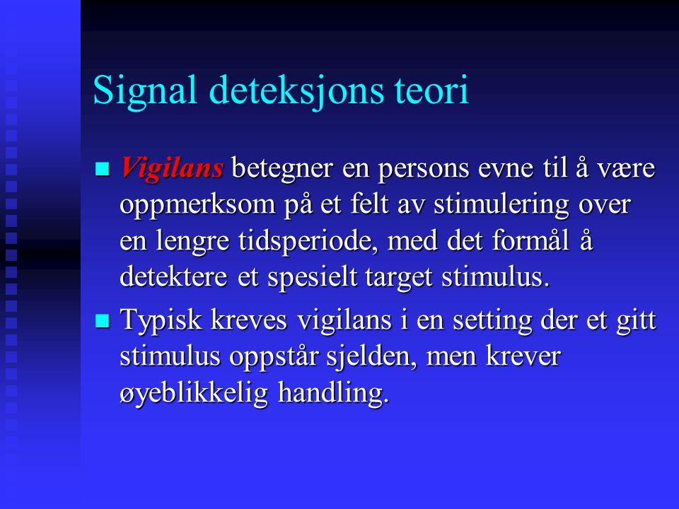 Signal deteksjons teori Er pasienten suicidal? Signal Detekter signal Ikke detekter signal Til stede TreffMiss Ikke til stede Falsk alarm Korrekt avvi