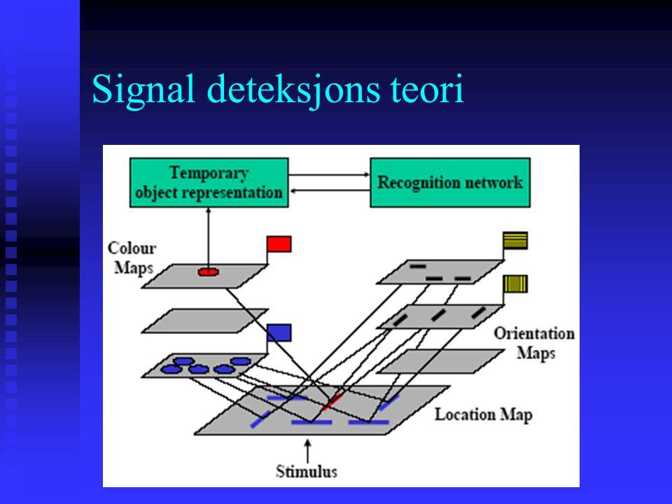 Signal deteksjons teori Trekk-integrasjons-teori (Anne Treisman) Alle har et mentalt kart for å representere et gitt trekk i det visuelle feltet, f. e