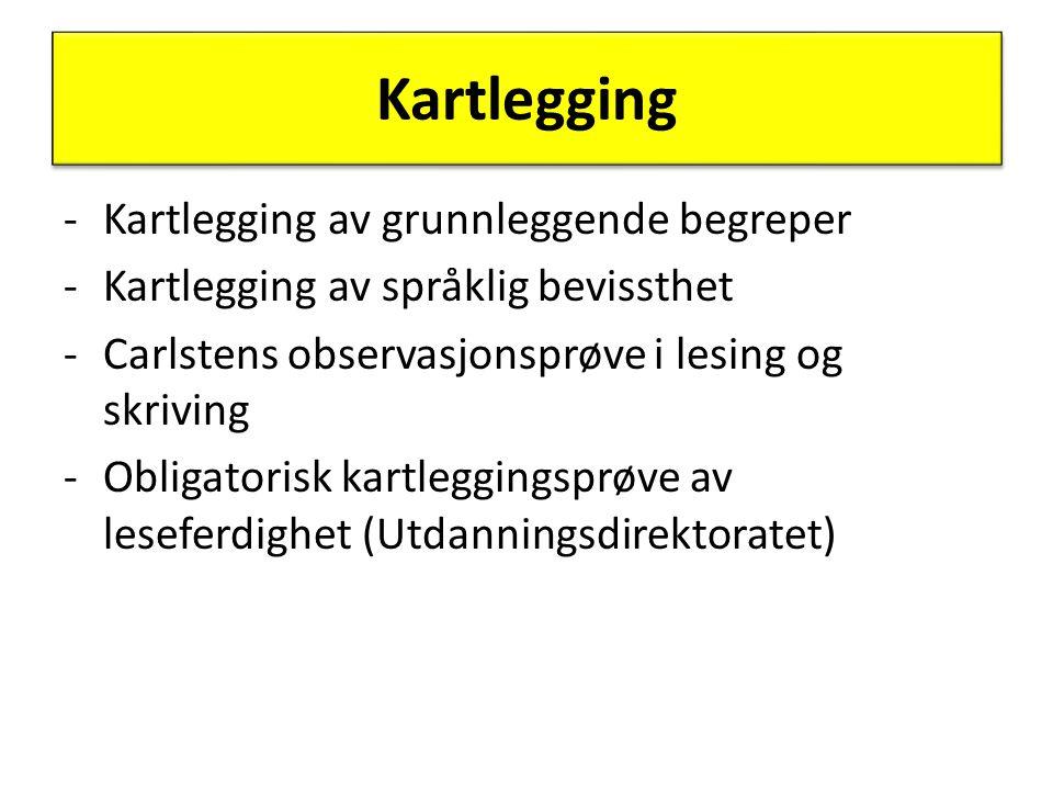 Kartlegging -Kartlegging av grunnleggende begreper -Kartlegging av språklig bevissthet -Carlstens observasjonsprøve i lesing og skriving -Obligatorisk kartleggingsprøve av leseferdighet (Utdanningsdirektoratet)