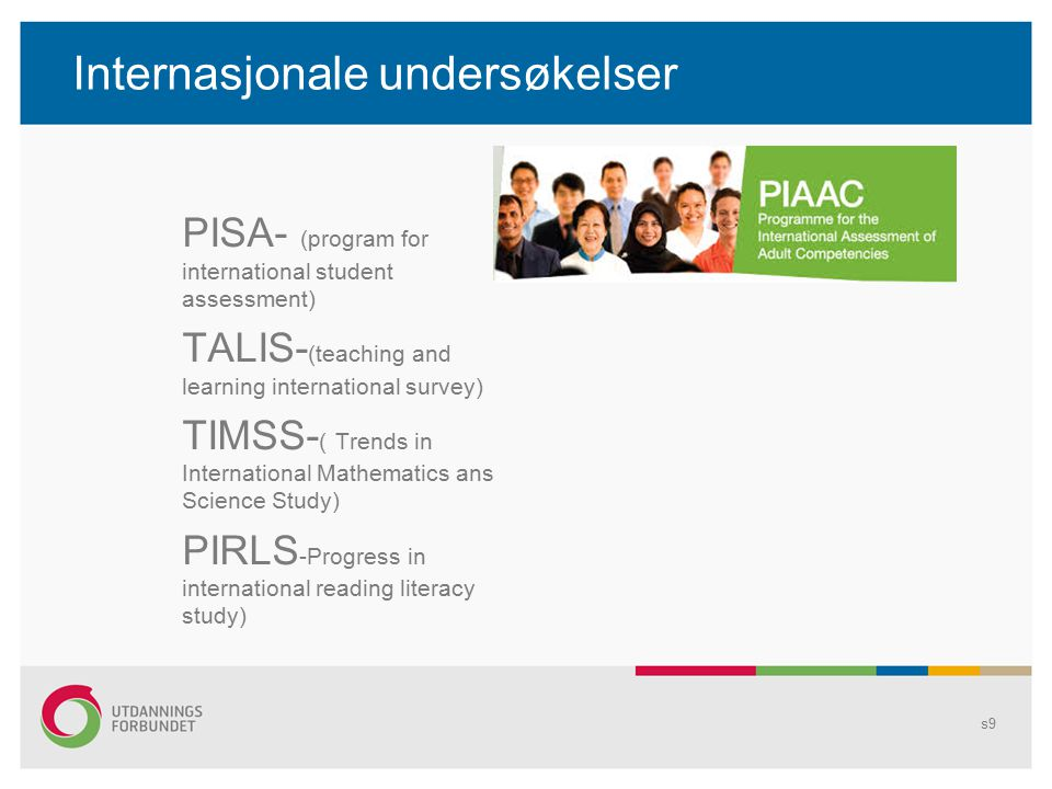 Internasjonale undersøkelser PISA- (program for international student assessment) TALIS- (teaching and learning international survey) TIMSS- ( Trends in International Mathematics ans Science Study) PIRLS -Progress in international reading literacy study) s9