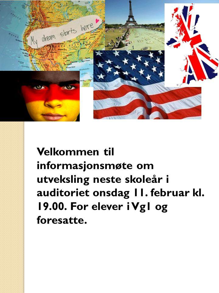 Agenda Før utveksling Utvekslingsåret Tilbakekomst