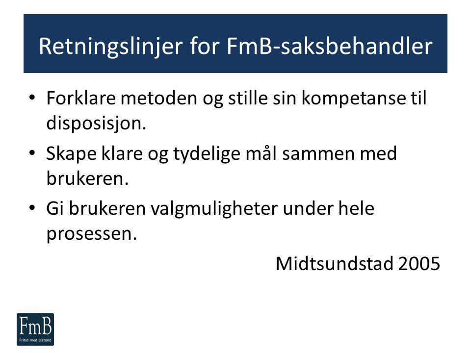 Retningslinjer for FmB-saksbehandler Forklare metoden og stille sin kompetanse til disposisjon. Skape klare og tydelige mål sammen med brukeren. Gi br